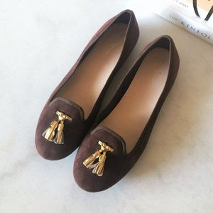 New! Cole Haan brown flat / loafer gold tassels
